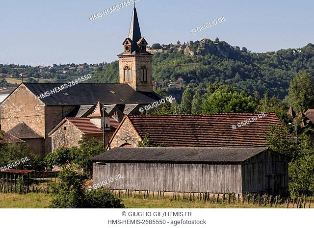 France, Lot, Capdenac Gare bell tower churche and behin Capdenac le Haut listed as Plus Beaux Villages de France (Most Beautiful Villages of France)
