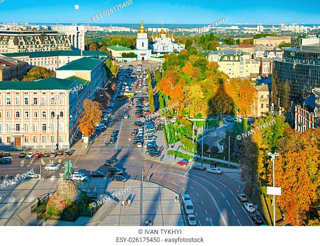Top view of Kiev Old Town with Bohdan Khmelnytsky monument and St. Michael's Golden-Domed Monastery