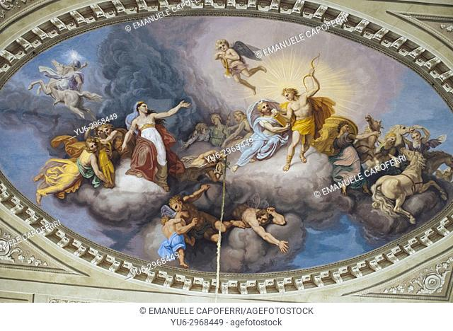 Frescoes on the ceiling of the Govone Castle, Piemonte, Italy