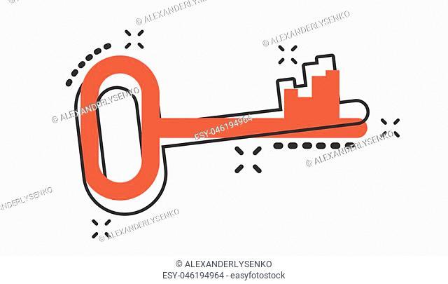 Vector cartoon key icon in comic style. Secret keyword sign illustration pictogram. Key business splash effect concept