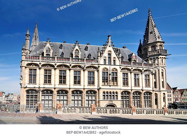 Facade of Post palace and Korenlei street in Ghent Belgium