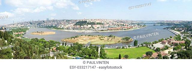 Panoramic aerial view over the Bosphorus River and Istanbul from famous Pierre Loti Cafe