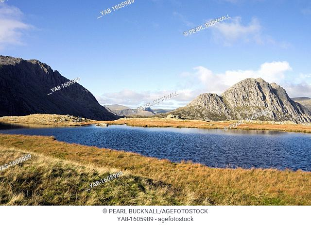 Conwy, North Wales, UK, Britain Europe  View across Llyn Y Caseg-fraith to Tryfan and Glyder Fach's Bristly ridge in Snowdonia National Park mountains