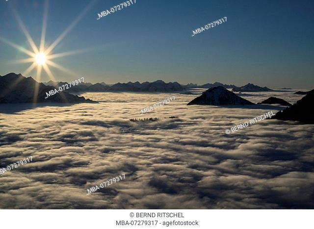 Sunset on the Martinskopf with view to Estergebirge and Ammergau Alps, mountains on the Lake Walchen, Bavarian Alps, Upper Bavaria, Bavaria, Germany