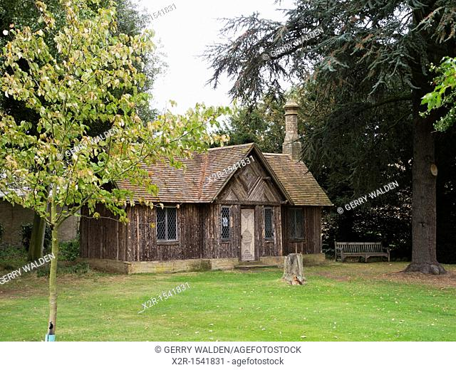 Log cabin in the grounds of Wrest Park near Silsoe in Bedfordshire, England  English Heritage is restoring the gardens to their former glory with the aid of...