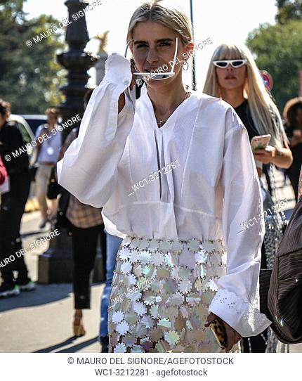 PARIS, France- September 27 2018: Caroline Daur on the street during the Paris Fashion Week