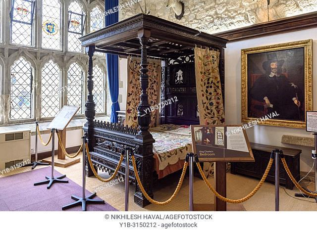 King Charles I bedroom, Carisbrooke Castle, Isle of Wight, UK