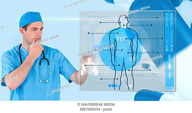 Digital composite image of doctor touching futuristic screen with interface graphics in background