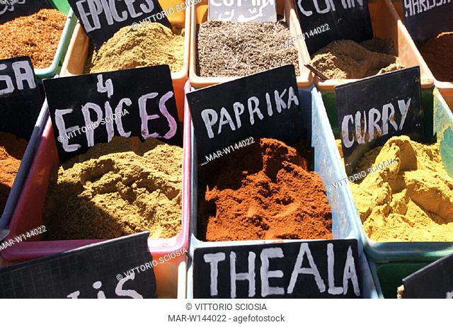 africa, tunisia, djerba, midoun, spices at the market