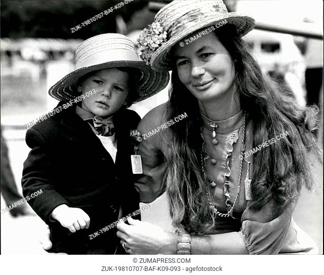 Jul. 07, 1981 - Henley Royal Regatta: Photo Shows 2-year-old Charles Esterhazy with his mother Countess Ilona Sporting Henley boaters on the opening day of the...