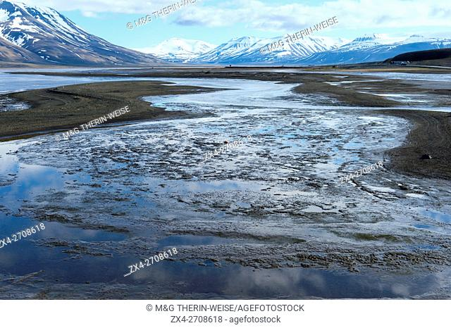 Isfjorden and snow-capped mountains, Longyearbyen, Spitsbergen Island, Svalbard Archipelago, Norway