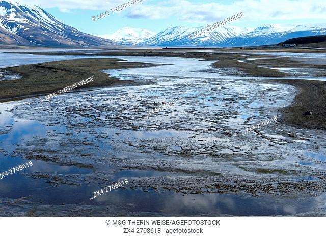 Isfjorden and snow-capped mountains, Longyearbyen, Spitsbergen Island, Svalbard Archipelago, Norway
