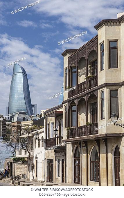 Azerbaijan, Baku, Old City and Flame Towers