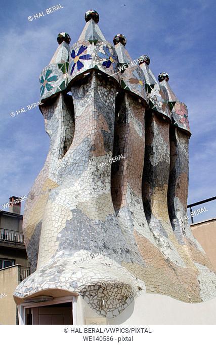 Chimney of Casa Batllo by Antonio Gaudi. Barcelona, Spain