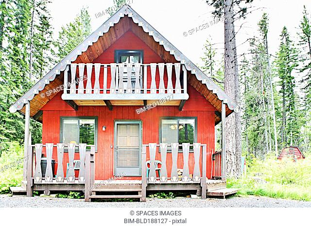 Rustic cabin in rural forest