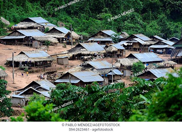 View of Ban Lak Kham Mai town in Luang Namtha area, Laos