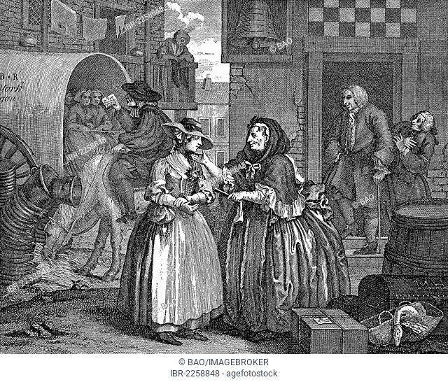 The intermediary as matchmaker, copper engraving by W Hogarth, 17th Century