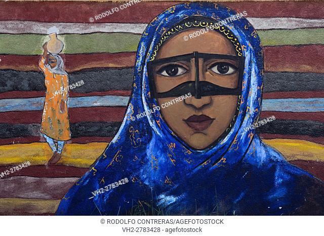 Bandari woman painting, Iran