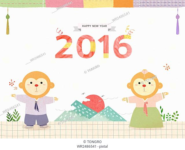 New year's greeting card with monkeys in traditional Korean clothes and view of sunrise