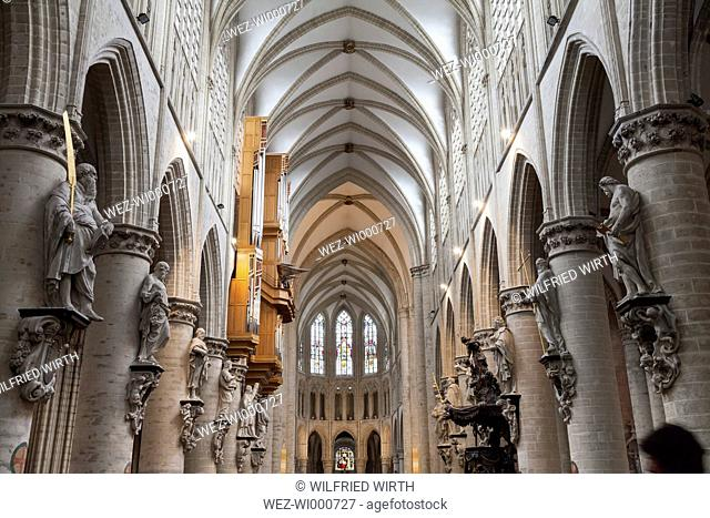 Belgium, Brussels, aisle of Cathedral of St Michael and St Gudula