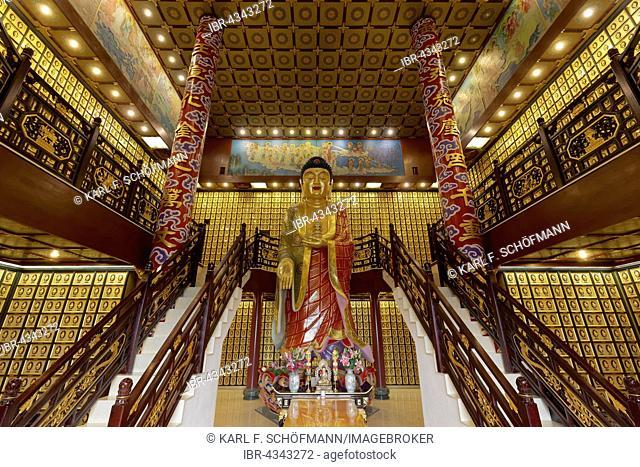 Buddhist funeral hall with urns with larger than life Amitabha Buddha statue, Ten Thousand Buddhas Monastery, Sha Tin, New Territories, Hong Kong, China