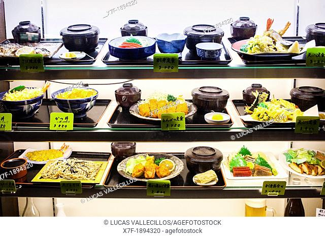 Showcase of a restaurant, in Ameyoko market Street Tokyo city, Japan, Asia