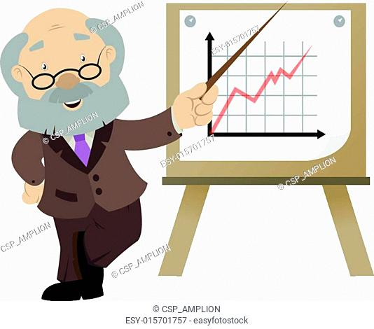 The cartoon business man with the graph