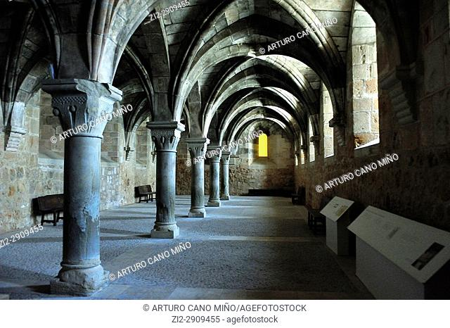 The Cistercian Monastery, XIIth-XVIth centuries. The Romanesque Hall of Converted or Conversos, XIIth century. Santa Maria de Huerta, Soria province, Spain
