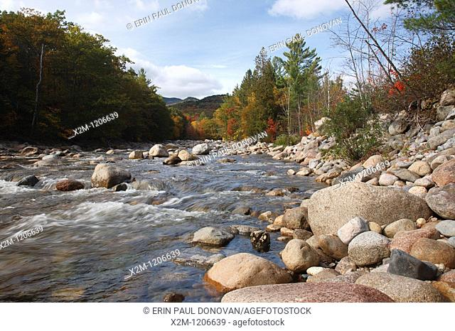 Lincoln Woods - East Branch of the Pemigewasset River during the autumn months in Lincoln, New Hampshire USA