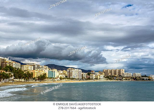 View of some clouds on Villajoyosa beach, Alicante area, Spain