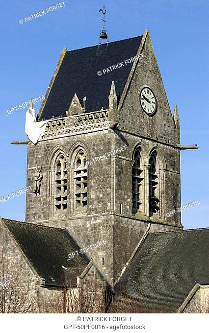 BELL TOWER OF THE SAINTE MERE CHURCH, MANCHE 50, FRANCE