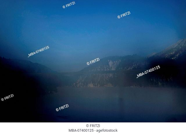 Lake Sylvenstein, window, view out of the window, view, Bavaria, Germany, blue hour