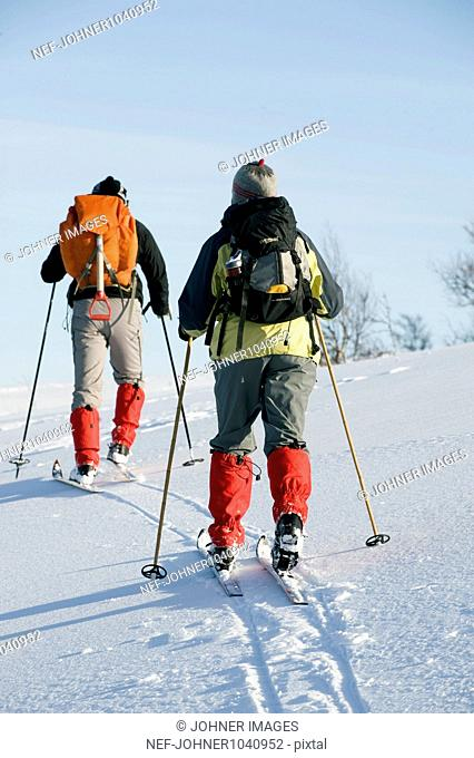 Two people skiing, rear view