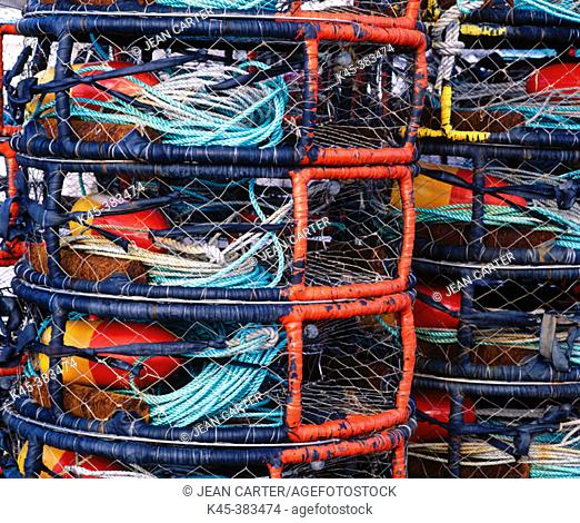 Crab pots on the dock at Port Orford. Southern Oregon coast, USA