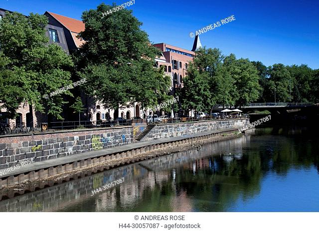 Waterfront at the Ilmenau in the old town of Lueneburg, Germany