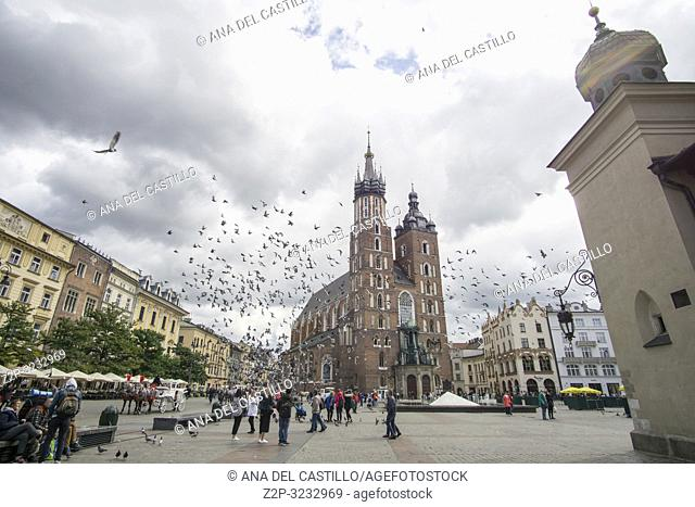 KRAKOW POLAND ON SEPTEMBER 24, 2018: Aerial view of The main square of the Old Town of Krakow, with St Mary cathedral Lesser Poland