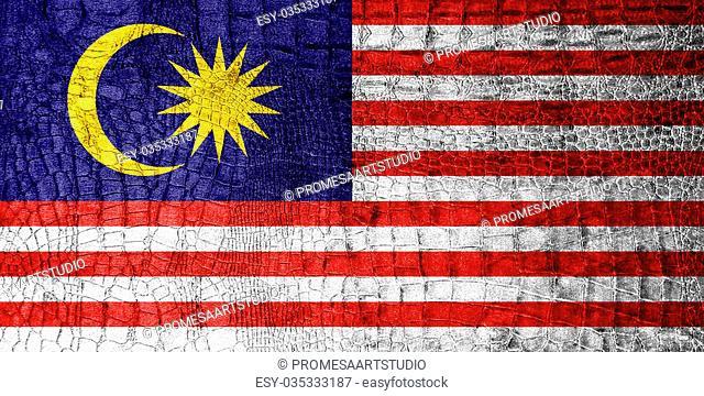 Malaysia Flag painted on luxury crocodile texture