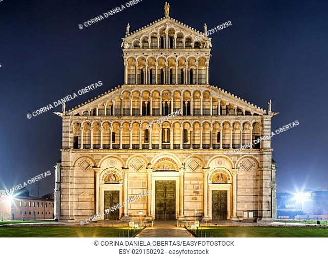 Facade of Pisa cathedral by night, Tuscany, Italy