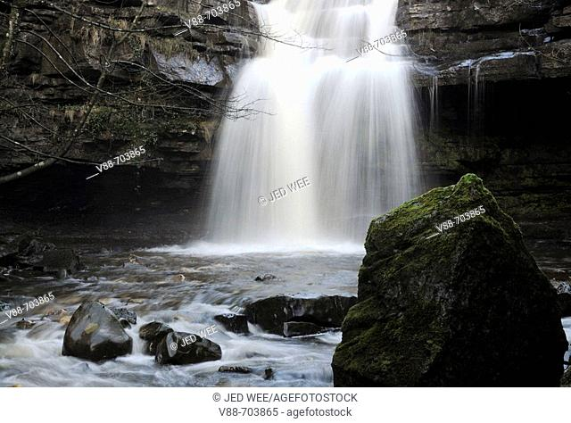 Summerhill Force, at Gibson's Cave, near the Bowlees Picnic Area, Teesdale, England