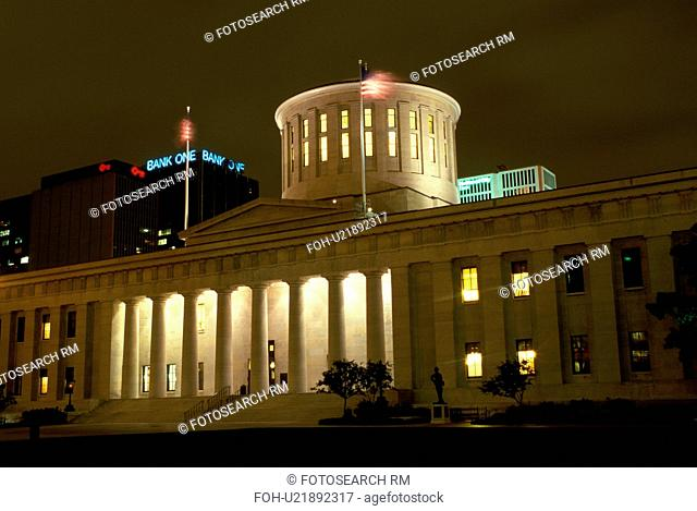 Statehouse, capitol, State Capitol, Columbus, OH, Ohio, Statehouse, a Greek Revival building, in the evening in downtown Columbus