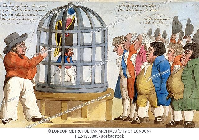 'The Corsican Bajazet in London', 1803; A sailor displays Napoleon Bonaparte I in a parrot cage. Six Londoners inspect Napoleon and make inane comments