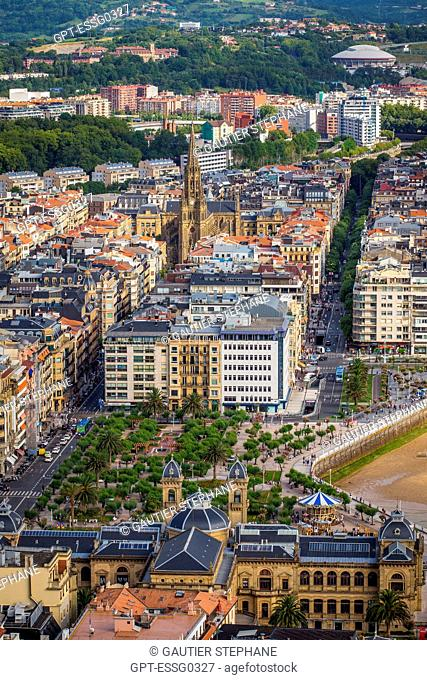 VIEW OVER SAN SEBASTIAN FROM MOUNT ULIA, BUEN PASTOR CATHEDRAL, SAN SEBASTIAN, DONOSTIA, BASQUE COUNTRY, SPAIN