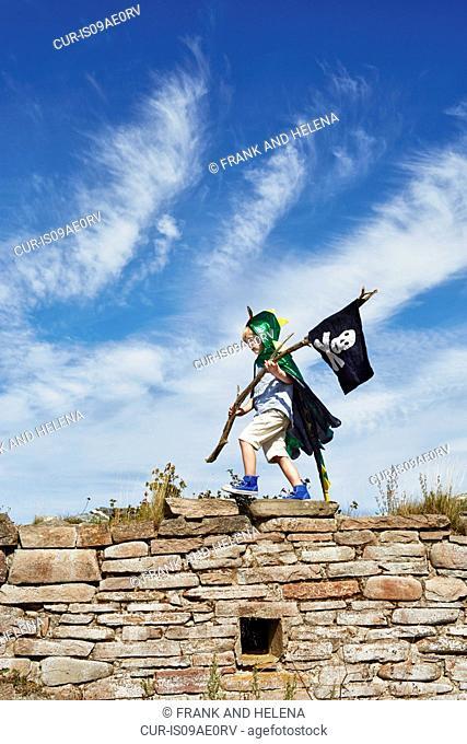 Boy carrying pirate flag, Eggergrund, Sweden