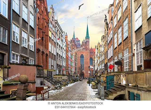 Famous street of Gdansk, Mariacka street, view on St Mary's Church, Poland