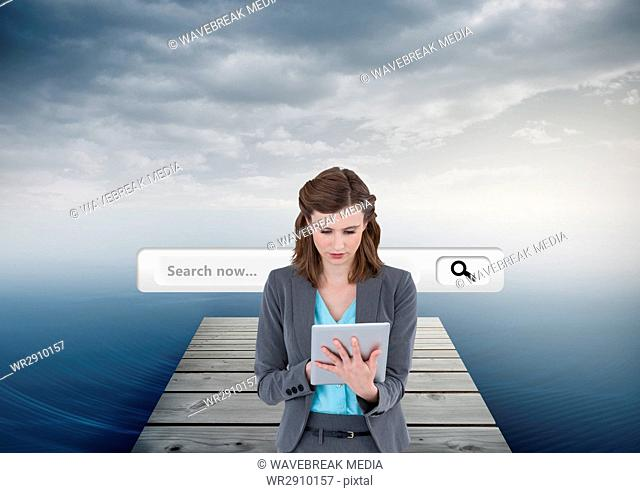 Search Bar with woman on tablet