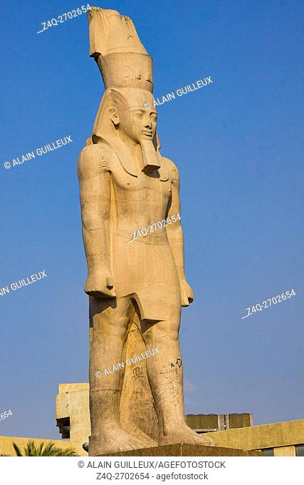 Egypt, Cairo, Heliopolis, on Orouba street stands a copy of a Ramses II colossus. The original was moved to Ramses square and later near the Grand Egyptian...