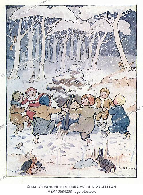 Nursery Rhymes -- Here we go round the mulberry bush, The mulberry bush, the mulberry bush, Here we go round the mulberry bush, On a cold and frosty morning
