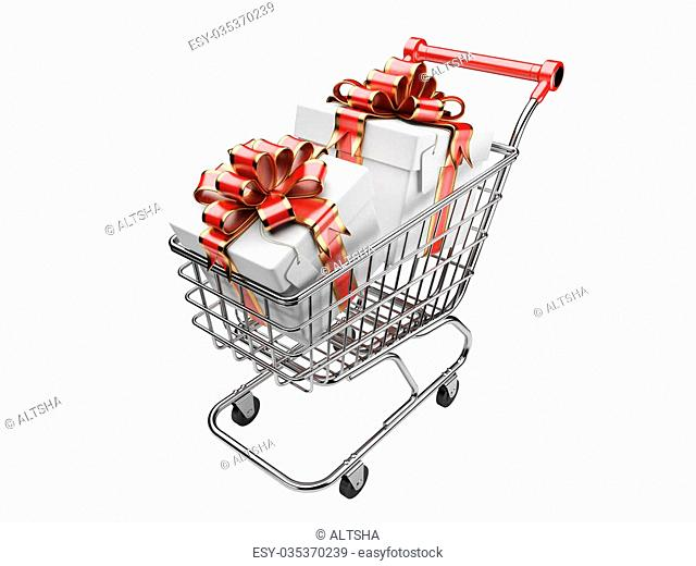 Shopping cart with gifts boxes. isolated on a white background 3d image