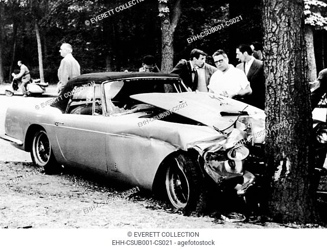 The mangled Ferrari in which Porfirio Rubirosa died in an early morning auto accident. The 56 year old playboy and diplomat's car veered into a parked car and...
