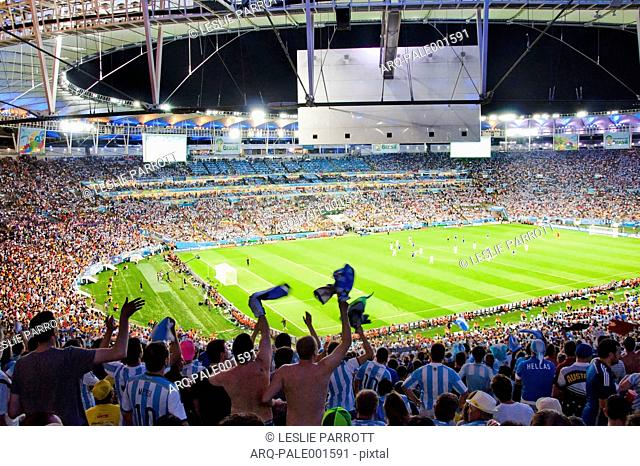 Soccer Fans Cheer During A Soccer Game In Maracana Stadium